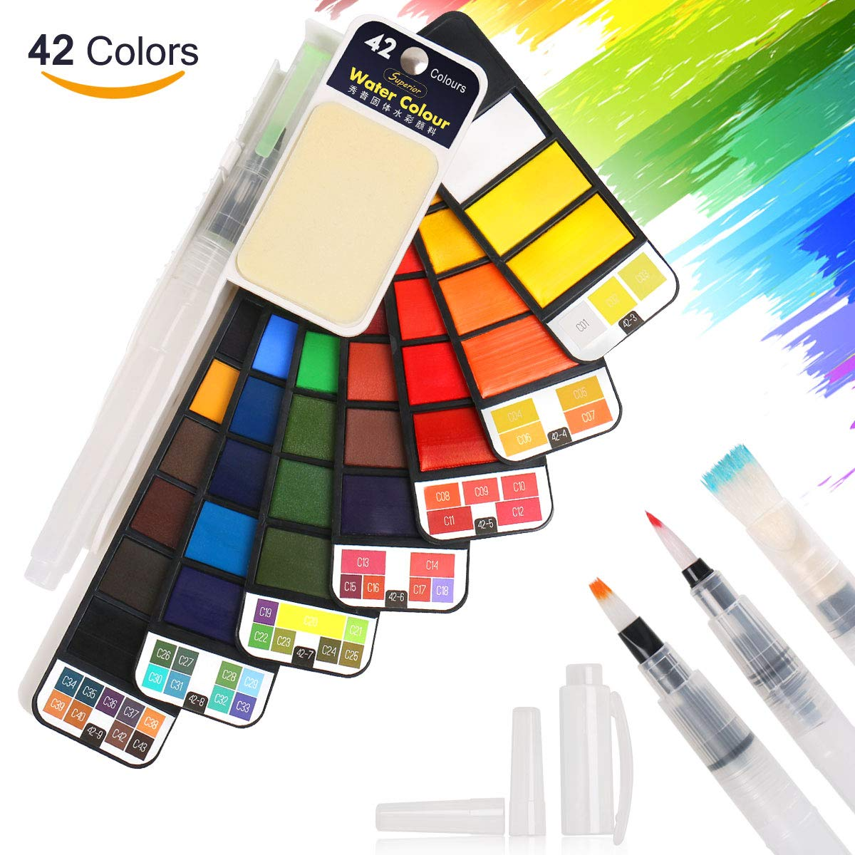 Watercolor Paint, BBLIKE 42 Assorted Colors Solid Travel Pocket Set with 4 Water Paint Brush Portable Watercolor Pigment for Artist Supplies Students Draw Painting Outdoor Gift On The Go (42 Colors)