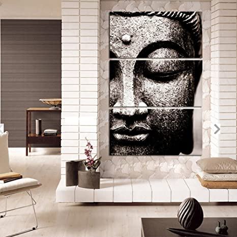 Shuaxin Modern Large Oil Style Buddha Wall Art Print on Canvas Home Living  Room Decorations Wall Art 3 Panel,16*32inch Frameless Gray