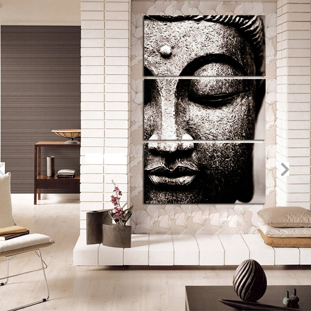 amazon com shuaxin modern large photo buddha wall art print on amazon com shuaxin modern large photo buddha wall art print on canvas home living room decorations wall art set of 3 16 32inch gray with diy wood frame
