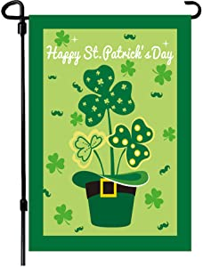 W&X St Patrick's Day Garden Flag,Shamrock/Hat St Patricks Flag 12.5 x 18 Inch Double-Sided Display 2 Layer Linen for Garden and Home Decorations
