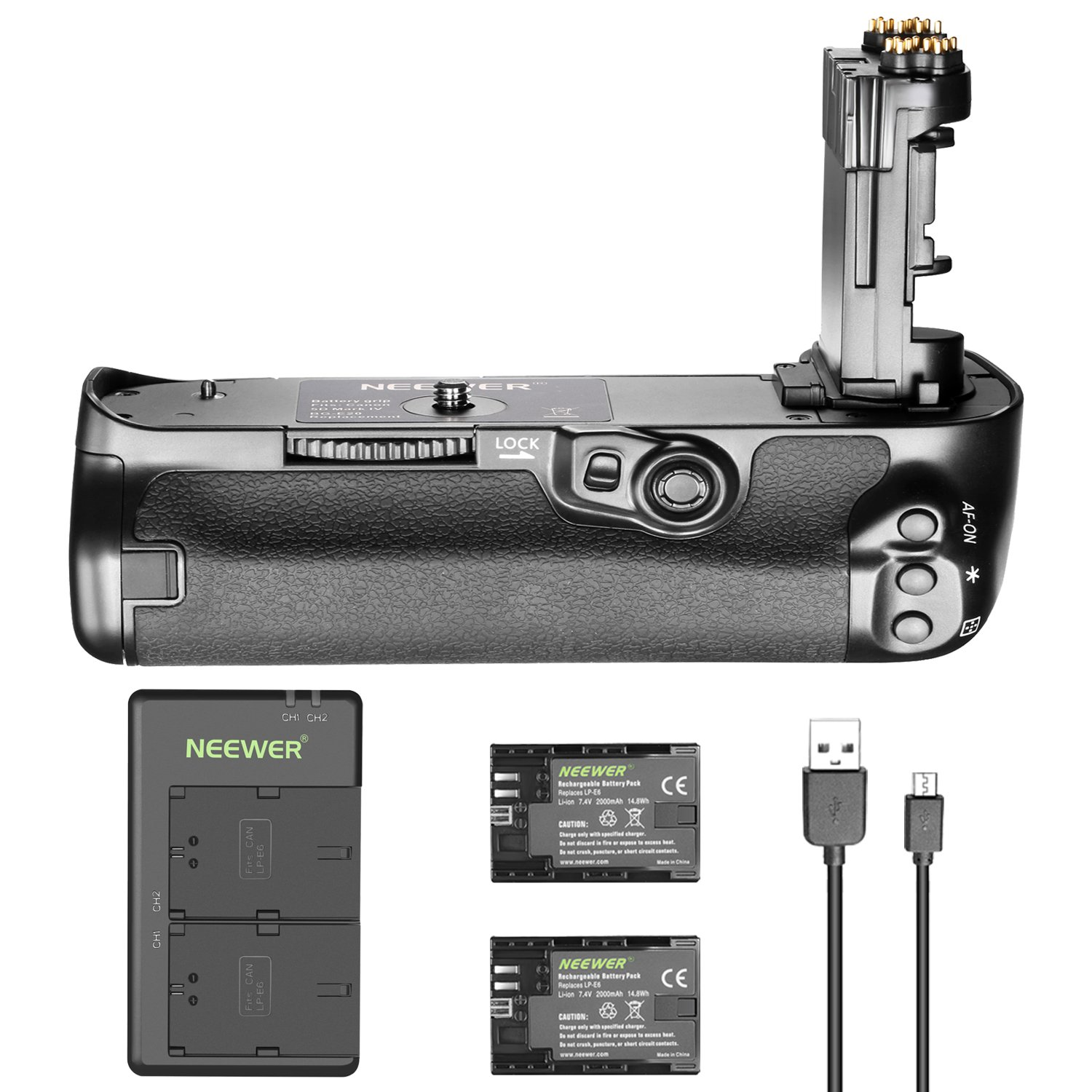 Neewer Battery Grip Replacement for Canon BG-E20 for Canon 5D Mark IV Camera, and 2-Pack 2000mAh Canon LP-E6 LP-E6N Replacement Rechargeable Battery with Micro USB Dual Battery Charger 90091511