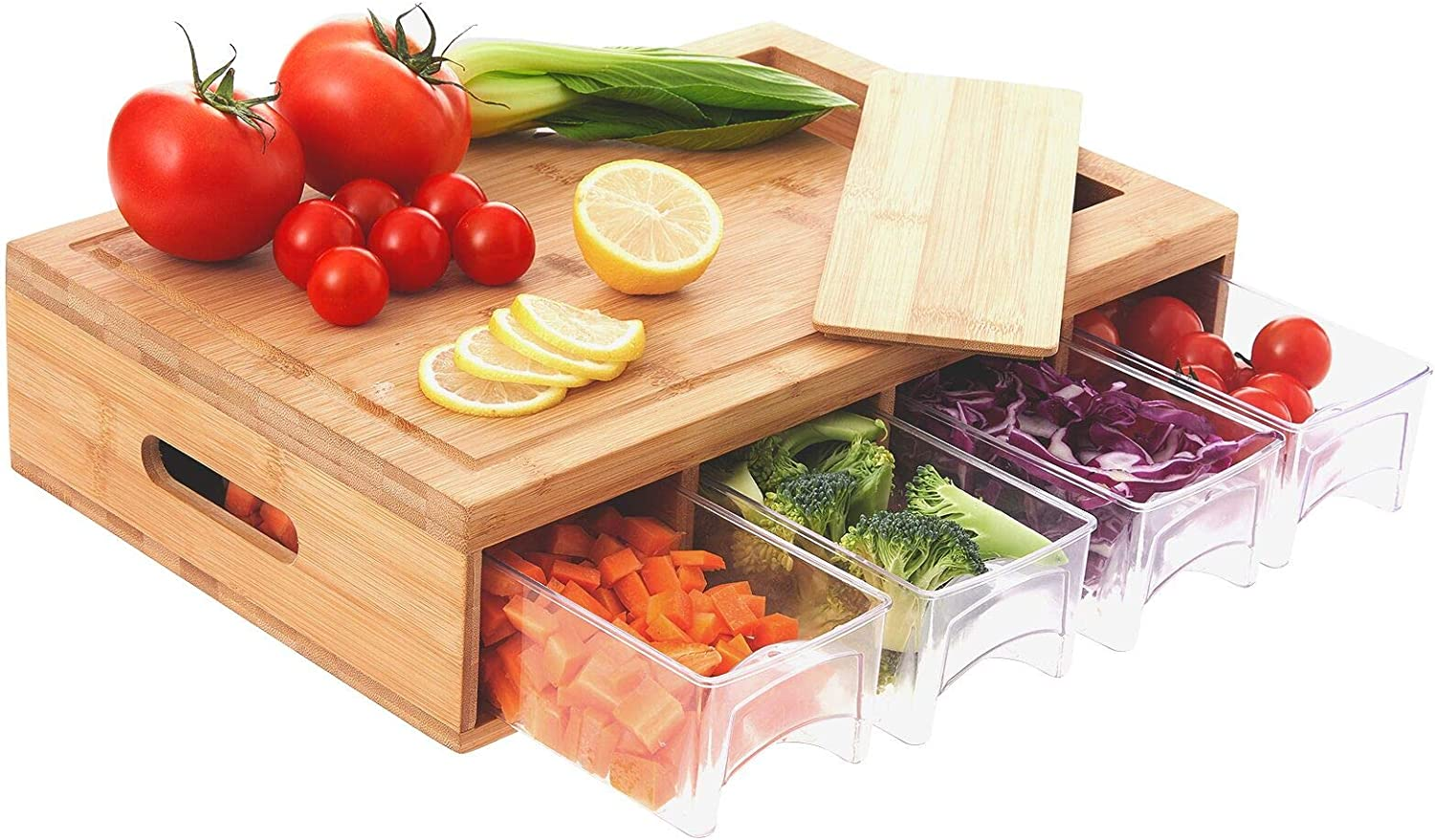 Bamboo Cutting Board with Containers, Large Sliding Opening Juice Grooves Handles to Save Kitchen Space and Easily Clean, Prepdesk for Food Prep and Storage, Chopping Board with Bamboo Lids