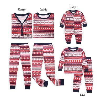 c06458059e5b4 Pitashe Ensembles Pyjama Noel Famille Père Noël Mère Garçon Fille Bébé  Pyjamas à Deux Pièces Set