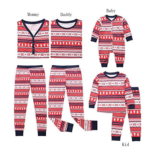 42cf9d91fa93 Amazon.com  Christmas Family Pajamas Set Kids Mom Dad Snowflake ...