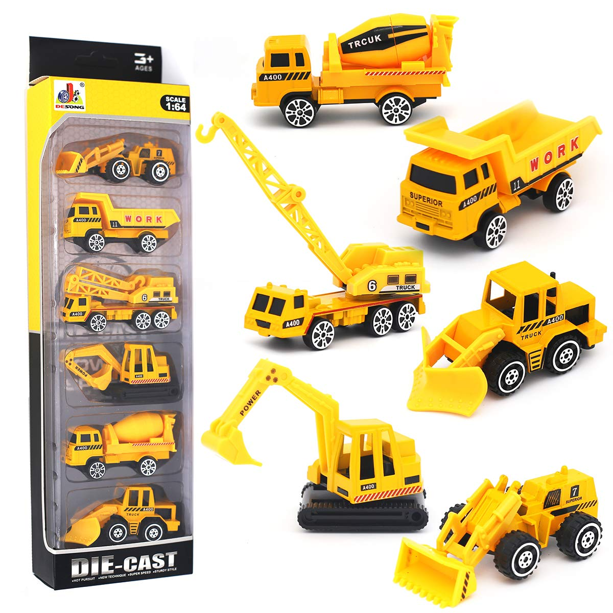 DESONG Alloy Engineering Truck Mini Pocket Size Construction Models Play Vehicles Toy for Kids Party Favors Cake Decorations Topper Birthday Gift,6Pcs Set