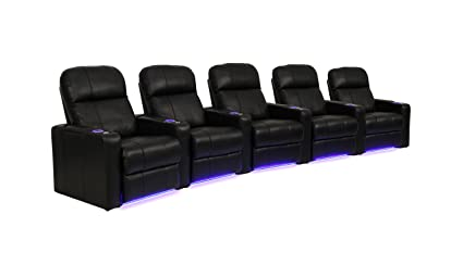 High Quality SeatCraft Venetian Collection Home Theater Seating With Power Recline, Row  Of 5, Black