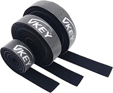 Vkey 3M Cable Ties Reusable Tape Wraps Roll Adjustable Wire Organizer Cord Rope Holder with Fastening Hook Loop for Computer Cable Management (3M)