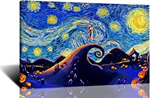 Jack and Sally Nightmare Before Christmas Vincent Van Gogh Starry Night Posters Home Canvas Wall Art Quotes Baby Gift Nursery Decor Framed Ready to Hang 16x24 inch