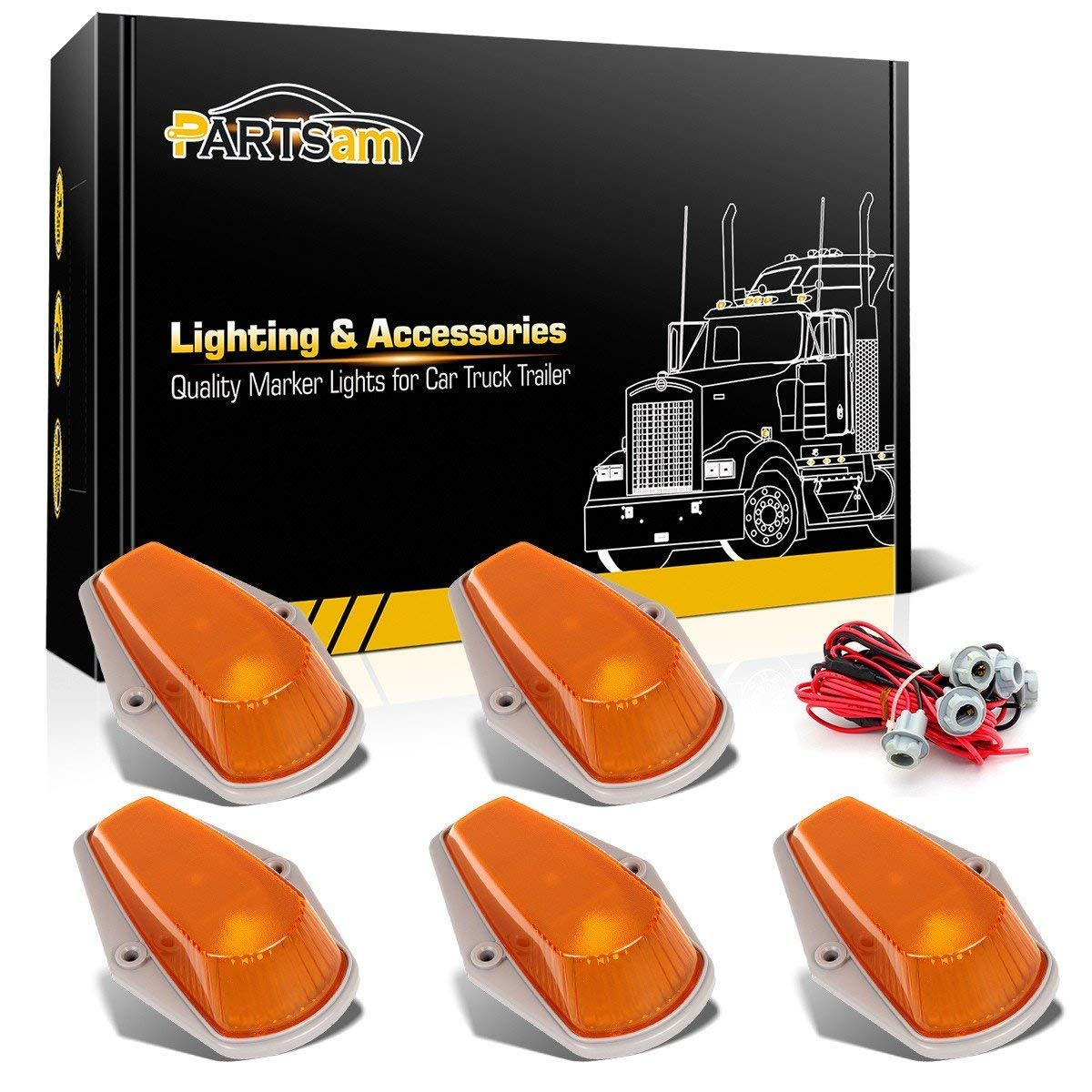 Partsam 5X Cab Roof Top Clearance Marker Light Amber Cover w basing House+T10 Socket Wiring Harness Replacement for 1973-1997 Ford F150 F250 F350 F Pickup Trucks