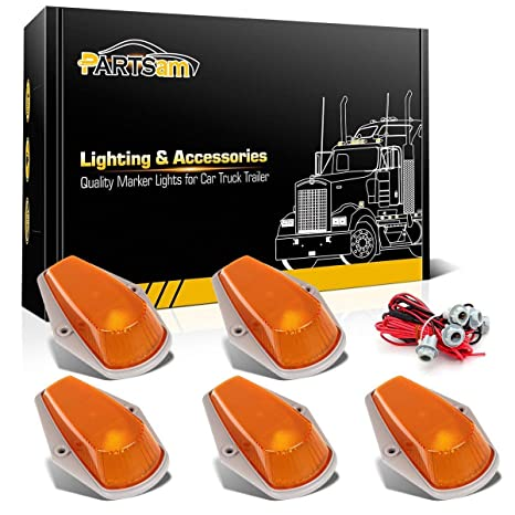 partsam 5x cab roof top clearance marker light amber cover w basing  house+t10 socket