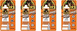 Gorilla 100 Percent Silicone Sealant Caulk, 2.8 ounce Squeeze Tube, Clear, (Pack of 4)