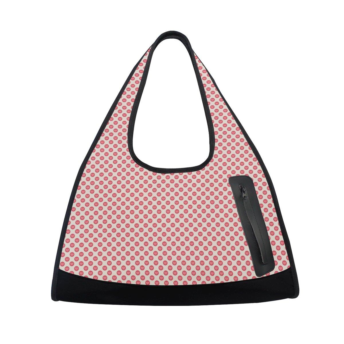 Sport Gym Bag Valentines Dots Canvas Travel Duffel Bag