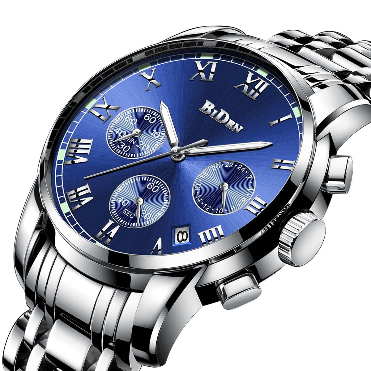 Watches,Mens Watches Luxury Business Fashion Chronograph Stainless Steel Waterproof Classic Analog Quartz Watch
