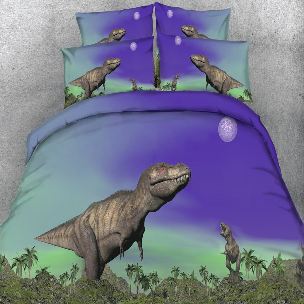 EsyDream 500TC Cotton Jurassic period Kids Love Bedding Sets 4PC No Comforter Queen King Size Dinosaur Child Bedlinen Sets,Full/Queen Size (4PC/Set)