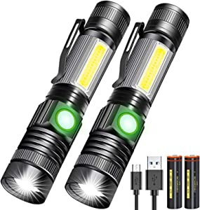 LED Rechargeable Flashlight, Tactical Flashligh (inculd 18650 Battery), Black Light Super Bright Torch Water Resistant, 4 Modes for Camping and Home Emergency
