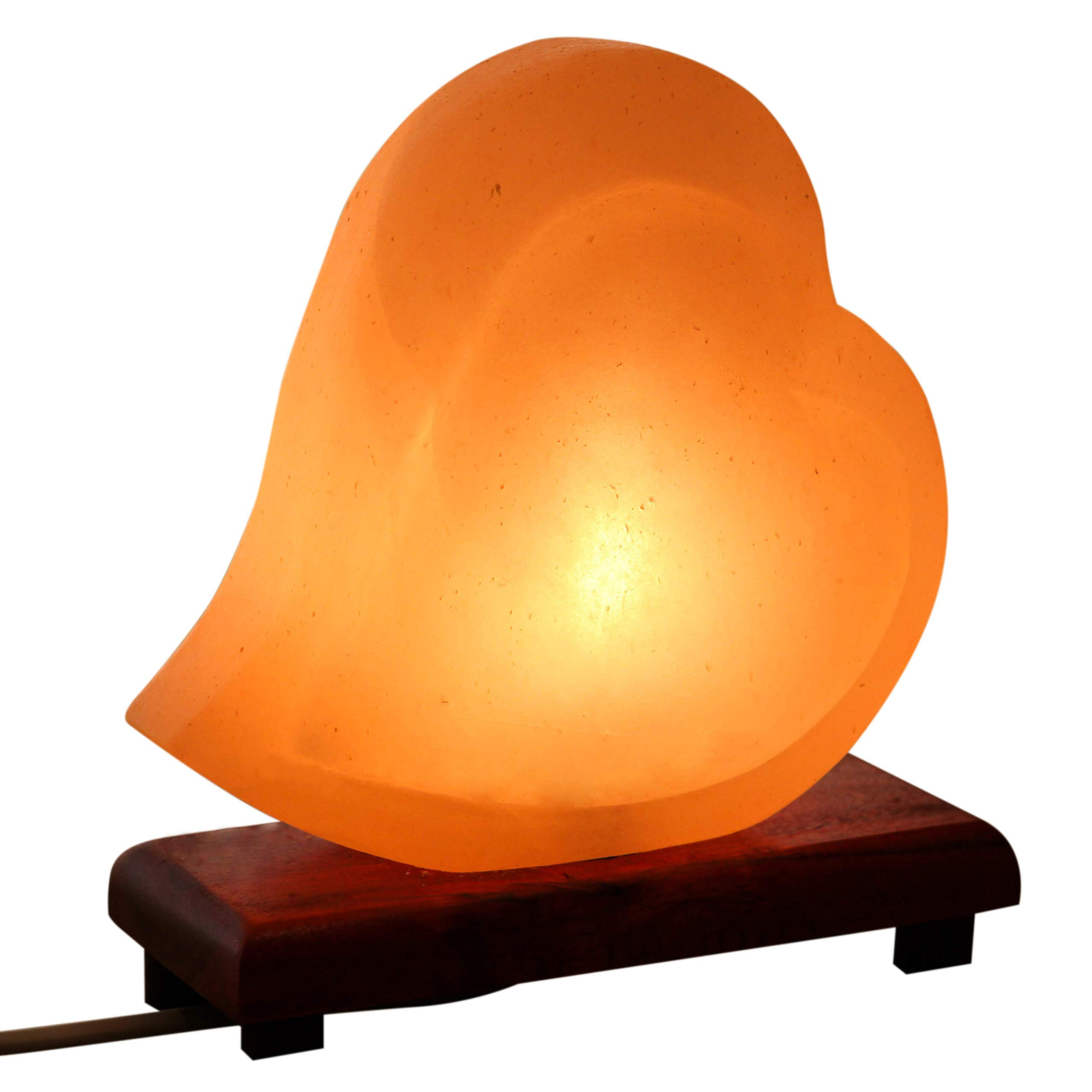 Mockins Natural Himalayan Salt Double Heart Shaped Lamp The Salt Lamp is Hand Carved with a Wooden Base and Dimmer - Best Mother's Day Gift … … … … … by Mockins (Image #1)