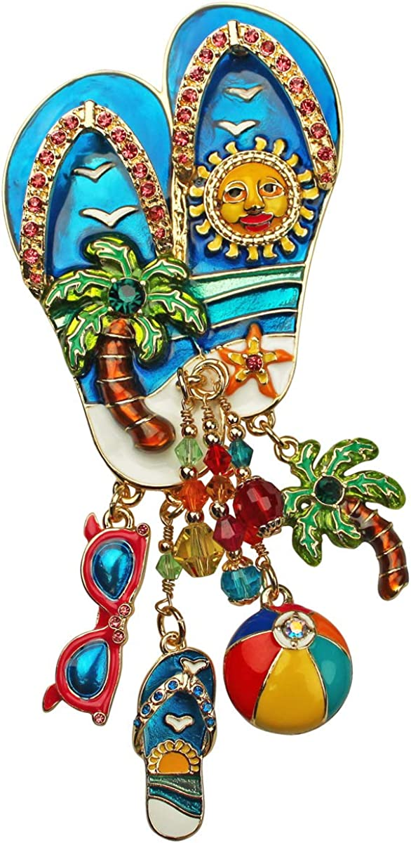 Ritzy Couture Women/'s Enamel Summer Fun Flip Flop Drop Dangle Brooch Pin Pendant Goldtone Beach Day Theme Ornament