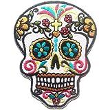 Fleurs colorées modèles de crâne de mode dans la tendance Art Crâne Belle conception Patch ''6.5 x 8.7 cm'' - Écusson brodé Ecussons Imprimés Ecussons Thermocollants Broderie Sur Vetement Ecusson