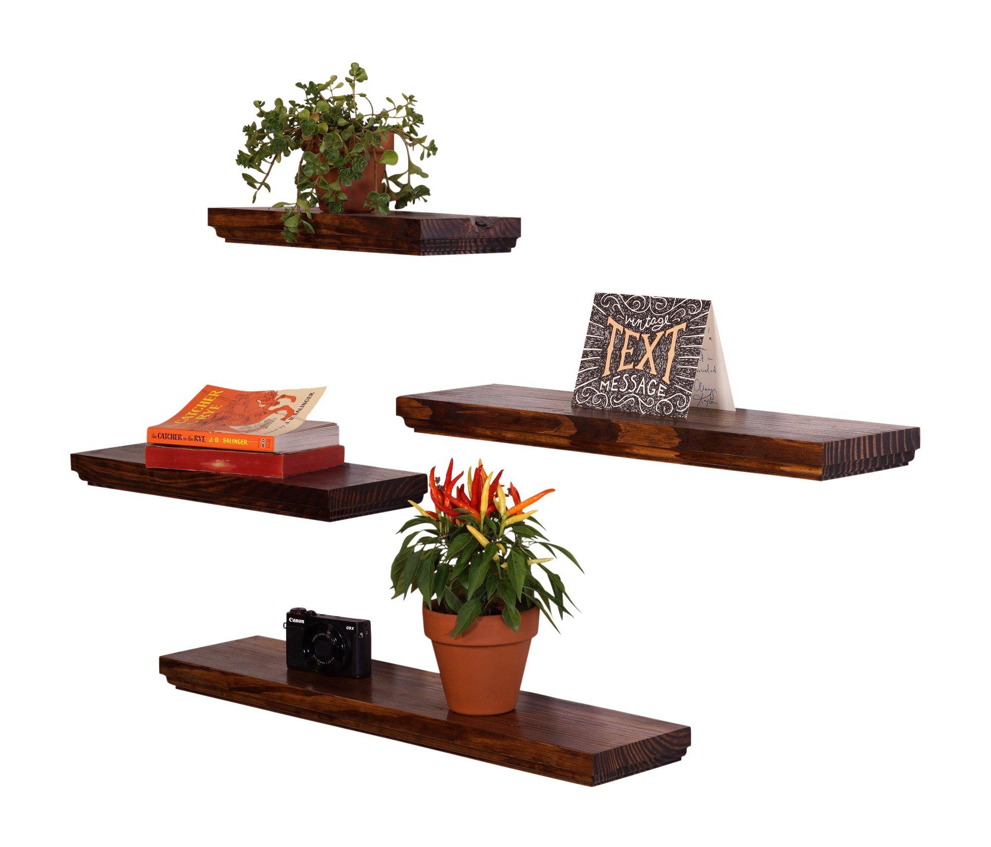 DAKODA LOVE Routed Edge Floating Shelves, USA Handmade, Clear Coat Finish, 100% Countersunk Hidden Floating Shelf Brackets, Beautiful Grain Pine Wood Wall Decor (Set of 4) (Bourbon) by DAKODA LOVE (Image #2)