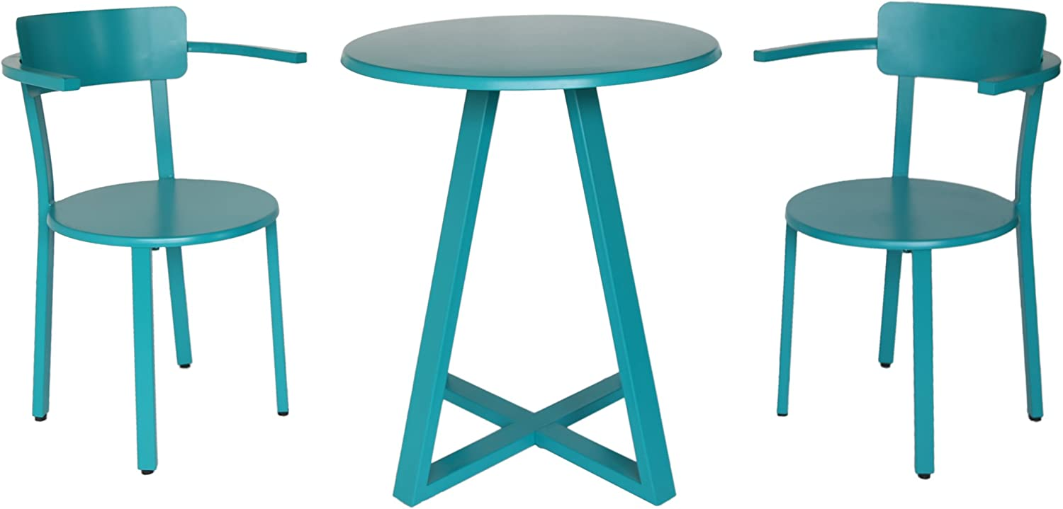 Christopher Knight Home 304952 Kate Outdoor Iron Bistro Set, Matte Teal