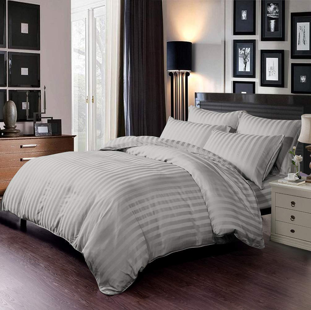"""Sweet Linen 6 Piece King Bamboo Duvet Cover Set 1 Duvet Cover 16"""" Deep Pocket Fitted Sheet 4 Pillowcases with Corner Ties Zipper Closure Ultra Soft Silky Hotel Quality Bedding Set Grey"""