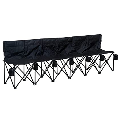 Strange Outsunny 6 Seat Folding Bench Outdoor Picnic Camping Multi Deck Chair Portable Sports Seater Steel Frame Black W Cup Holder Carry Bag Dailytribune Chair Design For Home Dailytribuneorg