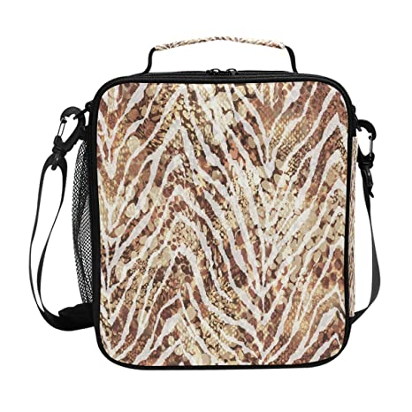 855e24dcbc60 Amazon.com: JSTEL Lunch Bag Vintage Zebra Spots Handbag lunchbox ...