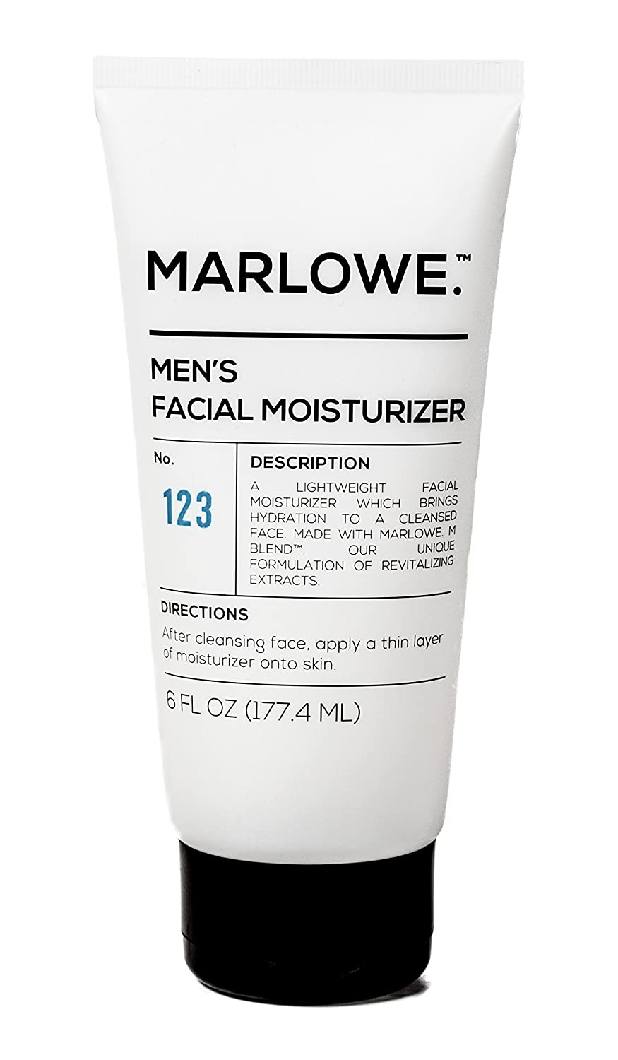 MARLOWE. No. 123 Men's Facial Moisturizer 6 oz | Lightweight Daily Face Lotion for Men | Best for Dry or Oily Skin | Made with Natural Ingredients & Anti-Aging Extracts