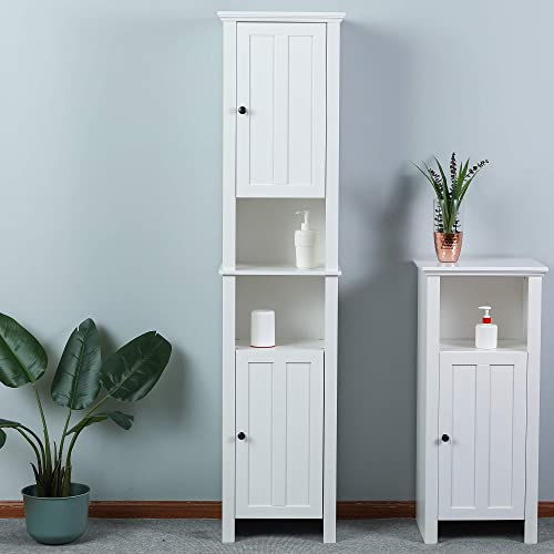 Overstock Tall Tower Bathroom 66.9in.H Cabinet in White