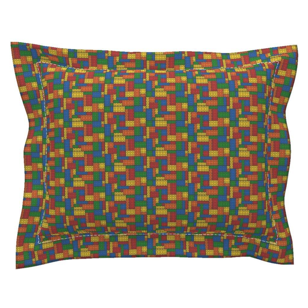 Roostery Blocks Construction Building Blocks Movie Rainbow Brick Pillow Sham by