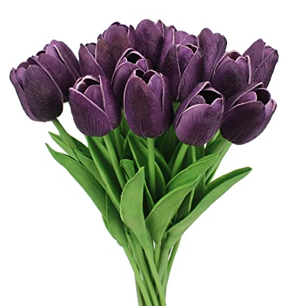 Surprising Duovlo 18 Heads Artificial Mini Tulips Real Touch Wedding Flowers Arrangement Bouquet Home Room Centerpiece Decor Dark Purple Download Free Architecture Designs Estepponolmadebymaigaardcom