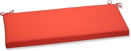 Pillow Perfect Outdoor Indoor Sunbrella Canvas Melon Bench Swing Cushion, 45 x 18 , Orange