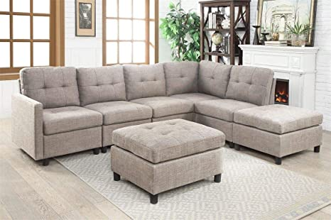 Amazon.com: Rabinyod Bulan Contemporary Sectional Sofa Set ...