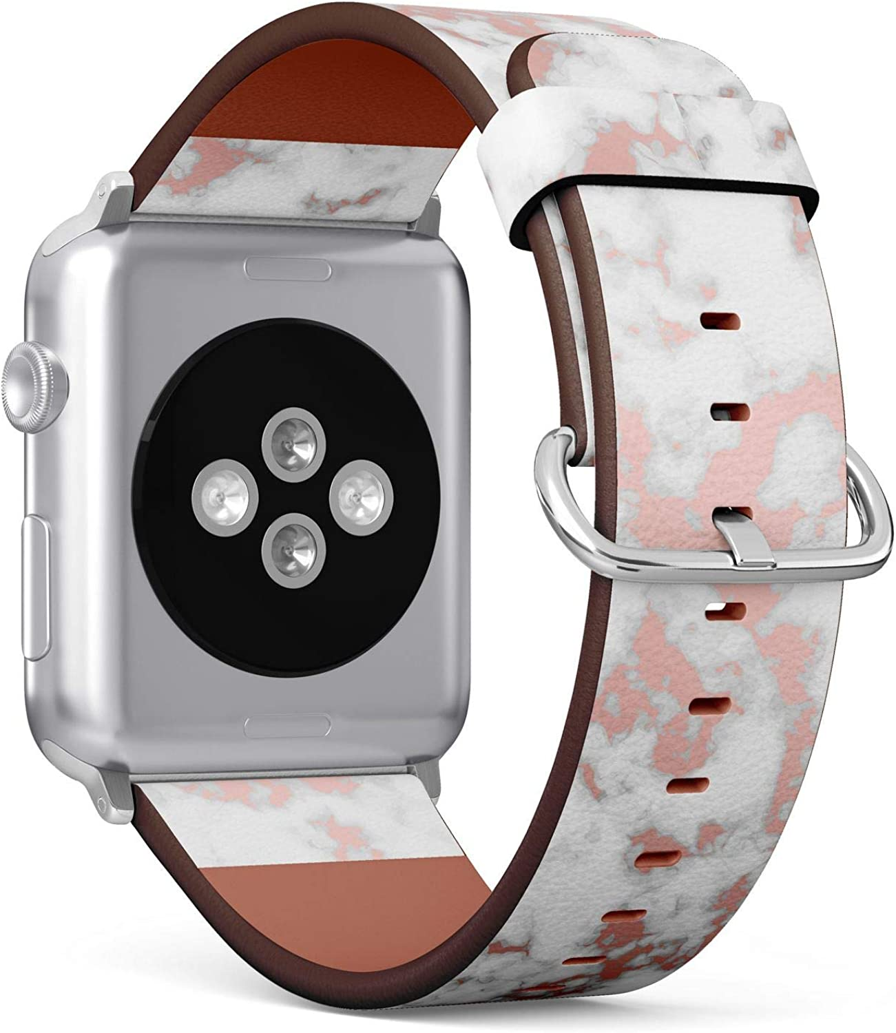 (Rosegold Marble Pattern) Patterned Leather Wristband Strap for Apple Watch Series 4/3/2/1 gen,Replacement for iWatch 38mm / 40mm Bands