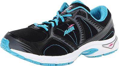 AVIA Women's Avi Roadside Running Shoe,Black/Detox Blue/Steel Grey/Atomic