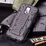 Galaxy S5 Active Coque, Cocomii Robot Armor NEW [Heavy Duty] Premium Belt Clip Holster Kickstand Shockproof Hard Bumper Shell [Military Defender] Full Body Dual Layer Rugged Cover Case Étui Housse G870 (Black)