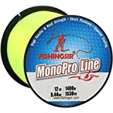 FISHINGSIR MonoPro Monofilament Fishing Line Premium Mono Nylon Material, Superior Strong and Abrasion Resistant,4LB-80LB