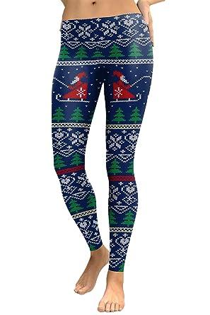 cocoleggings womens santa claus sledding patterned christmas sweater leggings s - Christmas Leggings Womens