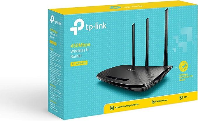 TP-Link TL-WR940N Router Inalámbrico Repetidor de WIFI Punto de Acceso N450 MBps, Alta Sensibilidad, WPS, 4 LAN, 1 WAN, Tecnología 3 x 3 MIMO, Negro