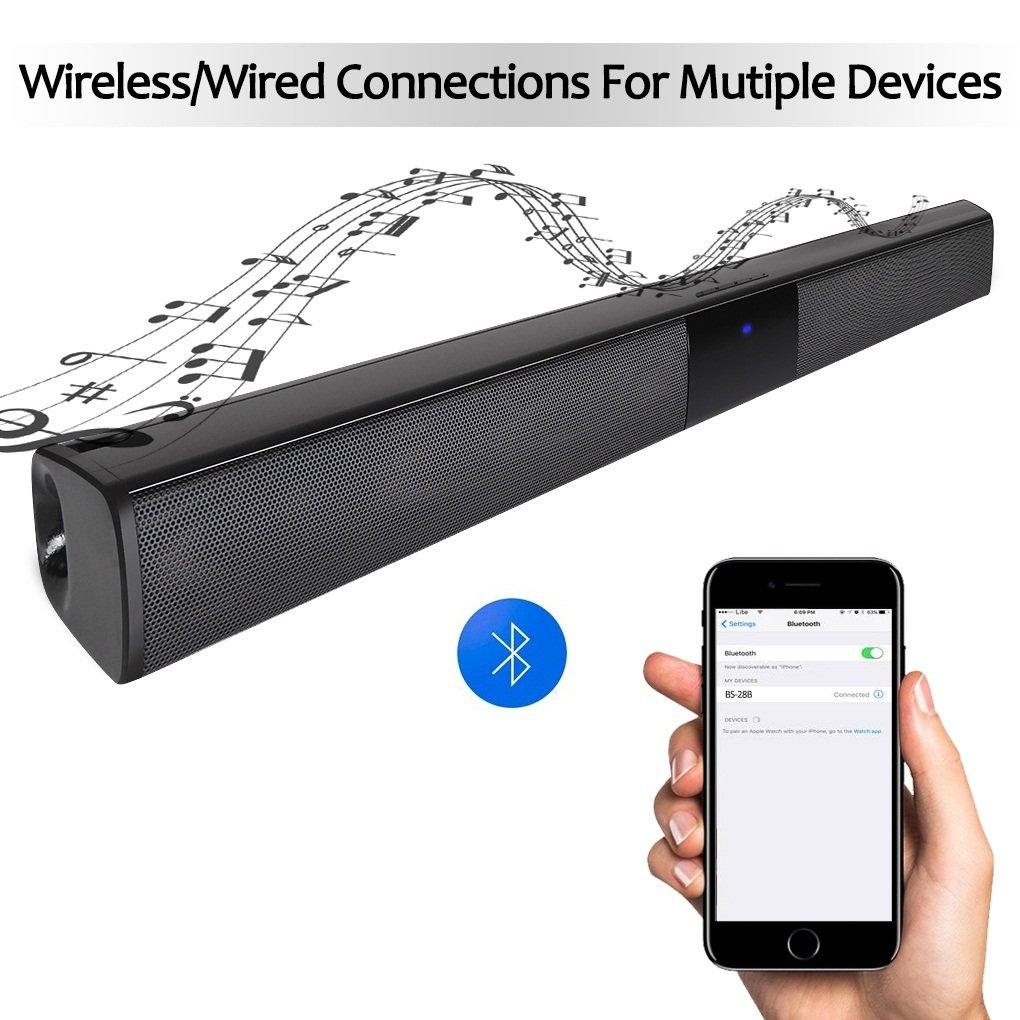 Amazon.com: Sound Bar Bluetooth Speaker Surround bar, 22 inch Wired ...