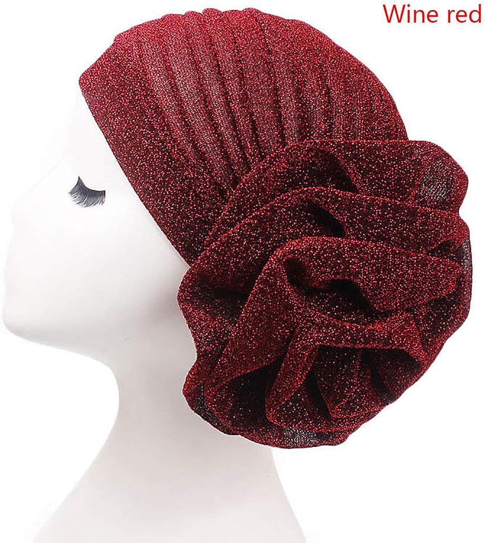 Women Elegant Flower Glitter Turban Hat Muslim Indian Cap Head Wrap Headwear Shiny Shimmer Bandana