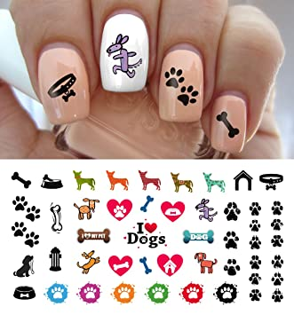 Amazon I Love My Dog Paw Prints Water Slide Nail Art Decals