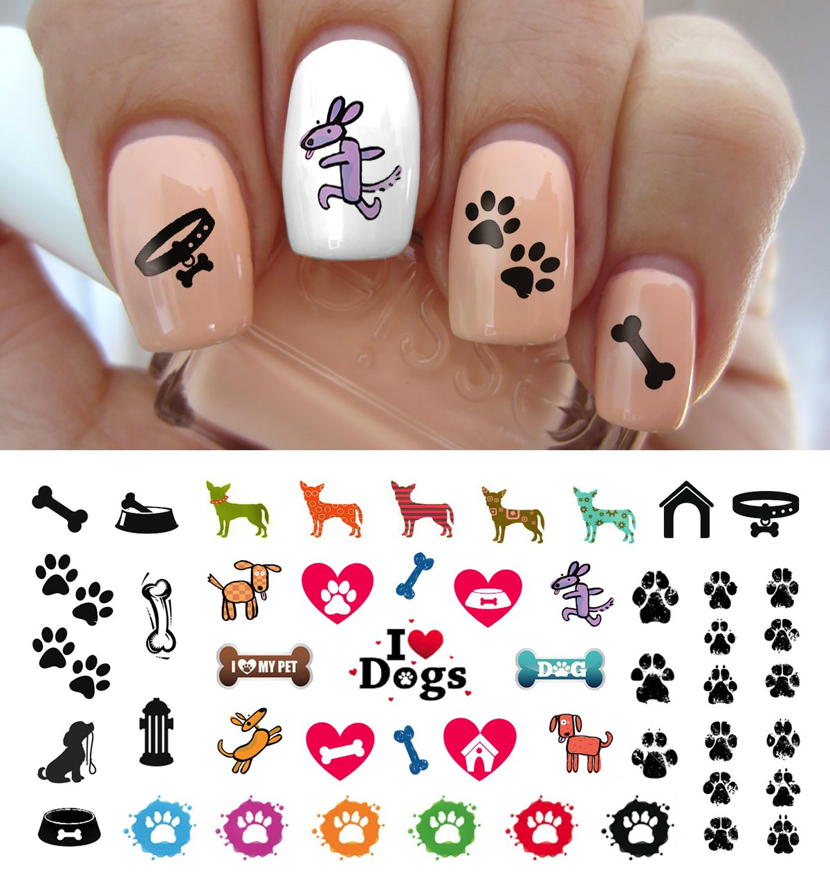 I Love My Dog Paw Prints Water Slide Nail Art Decals- Salon Quality 5.5