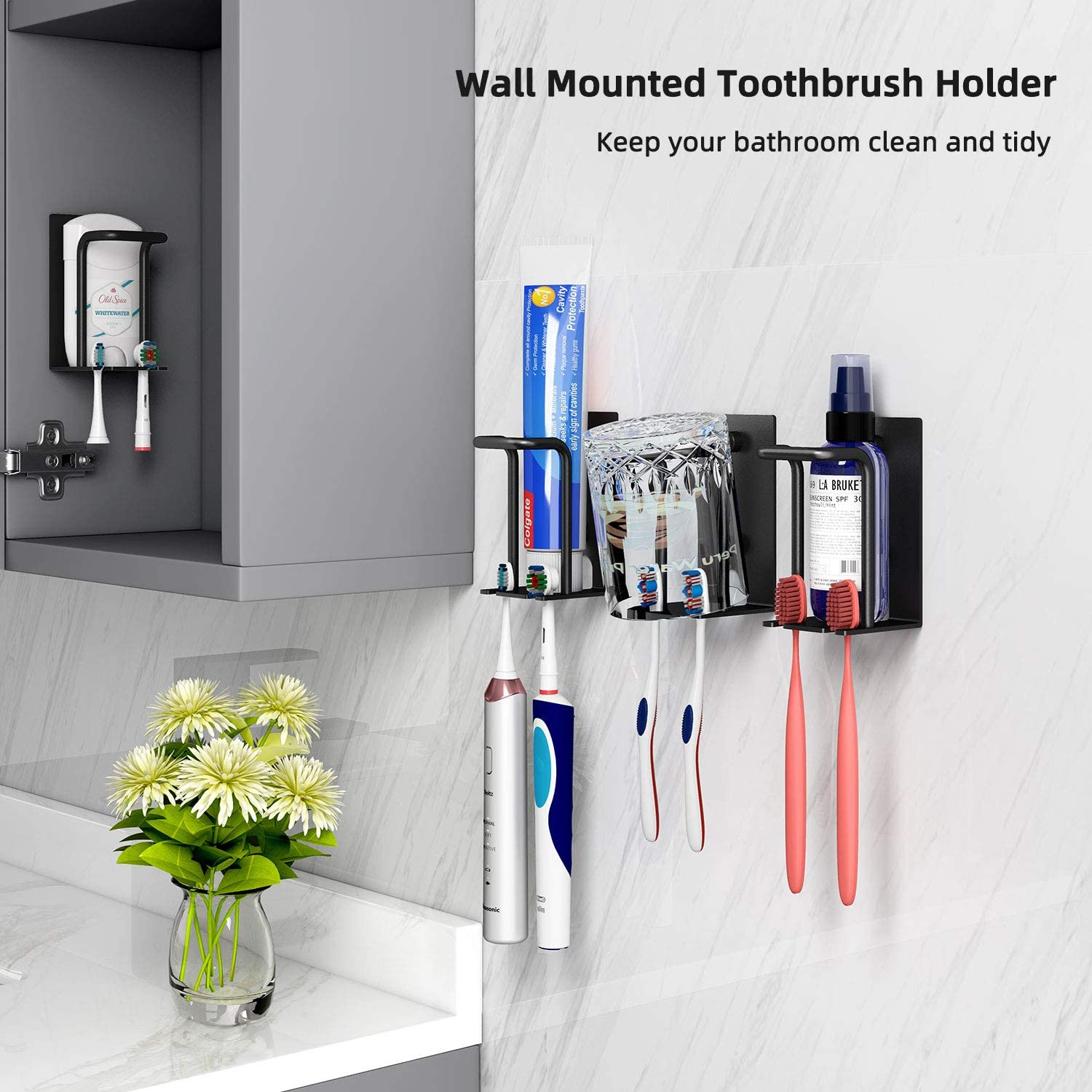 Gavia Electric Toothbrush Holder Toothbrush Holder Wall Mounted For Bathroom Shower Wall Toothbrush Organizer Adhesive Toothpaste Tooth Brush Cup Holder Self Draining Hygienic Toothbrush Head Holder Kitchen Dining