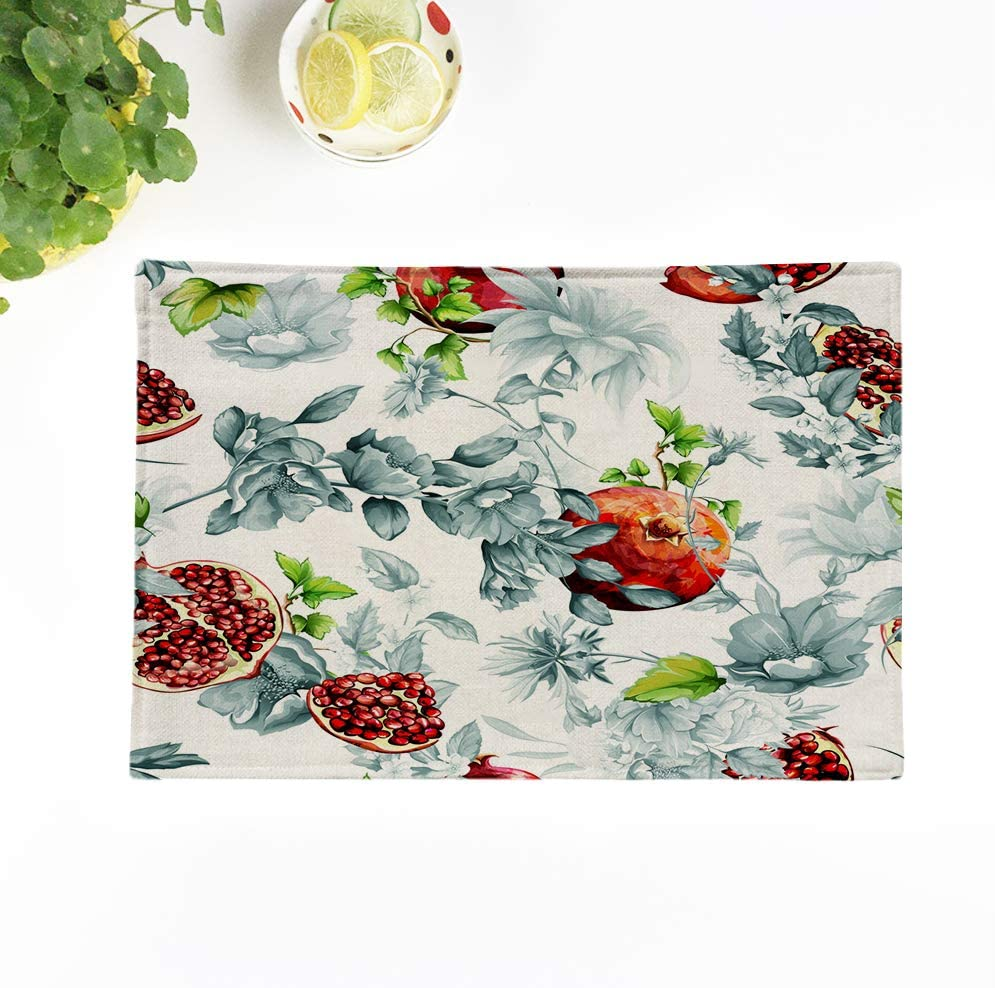 rouihot Set of 4 Placemats Green Abstract Pomegranate Fruit Flowers and Leaves Watercolor Red 12.5x17 Inch Non-Slip Washable Place Mats for Dinner Parties Decor Kitchen Table