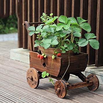 LQQGXL Fleur étagère anti-rouille plancher de bois décoration jardin ...