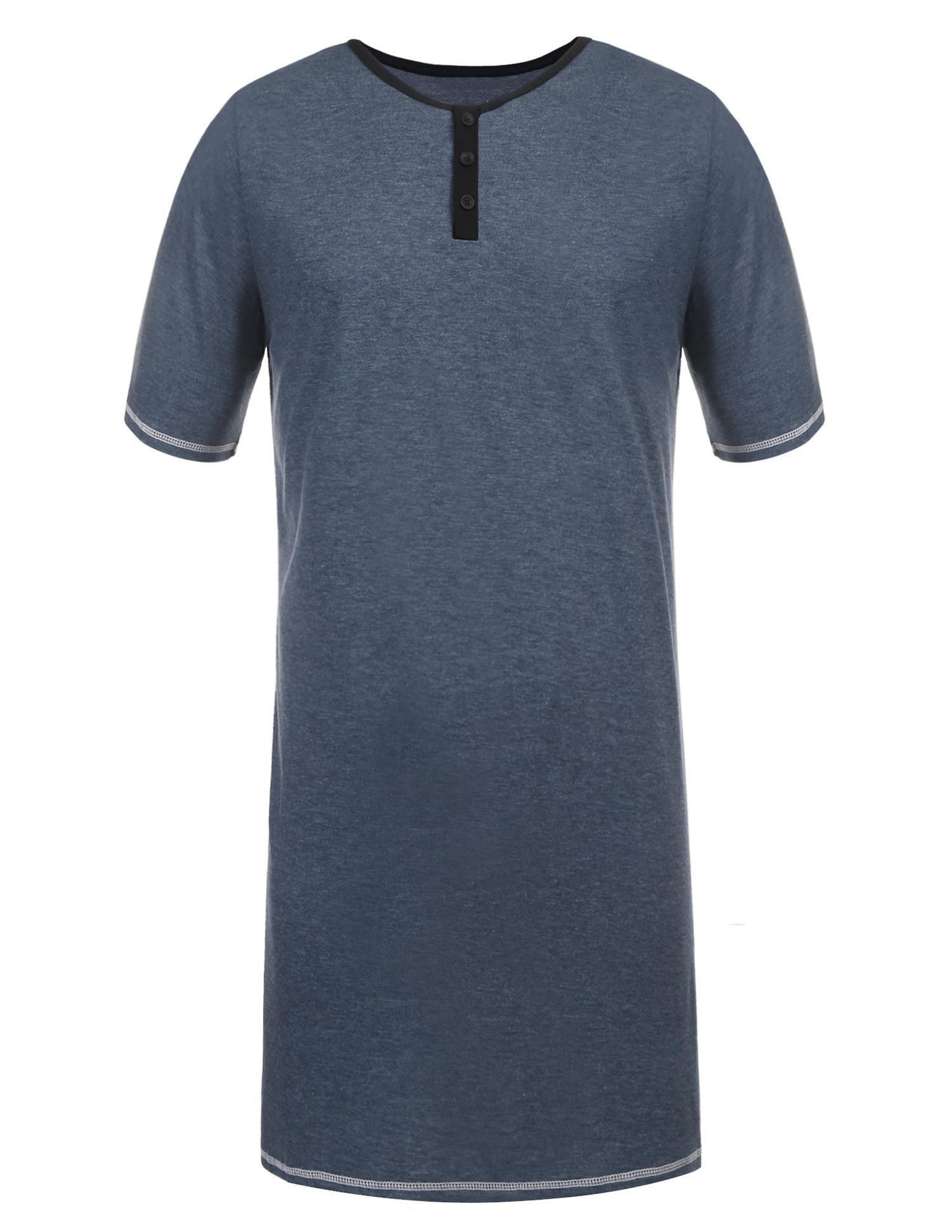 Skylin Nightdress Men's Comfort Sleepwear Short Sleeve Nightshirt Sleep Shirt (Dark Blue, XXL)