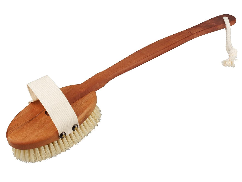 Premium Badebürste aus Birnbaum -Holz mit langem Stiel von BÜMAG - Luxuriöse gebogene Rückenbürste aus Holz mit abnehmbaren Kopf und gebleichte Naturborste- Hervorragend für eine sanfte Hautreinigung, Trockenmassage und sanftes Peeling - Gönnen Sie sich no