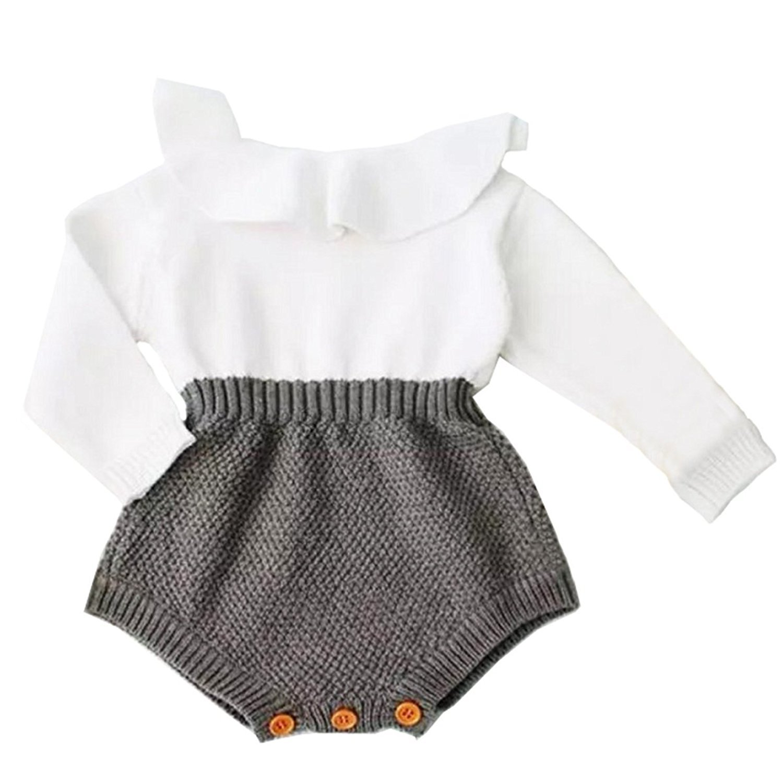 b387dbc92f7d Amazon.com  Baby Girls Sweet Knitted Fleece Romper Long Sleeve Ruffle  Jumpsuit Sweater Dress  Clothing