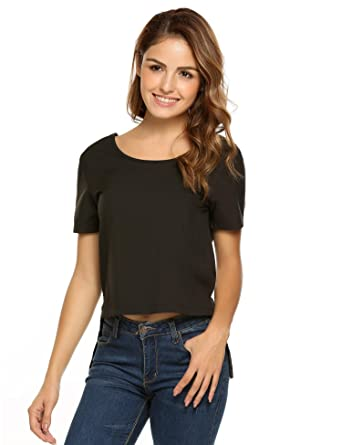 3675a18316bb Pinsparkle Womens Tops and Blouses Short Sleeve Boat Neck Shirt Casual  Solid Loose Summer Tops -